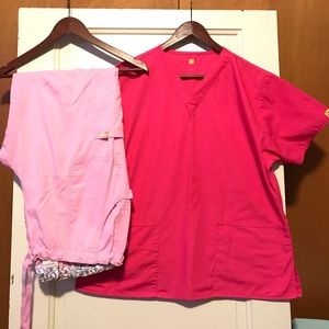 Women's Pink Large/XL Scrub Set